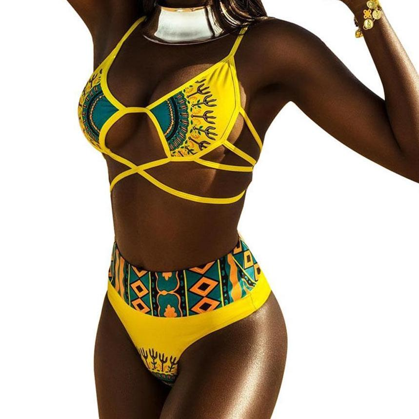 ZPDWT Sexy Tribal Print Bathing Suit Women African Swimwear 2018 New Plus Size Swimsuit High Waist Bikini Yellow Beach Swim Wear-cigauy