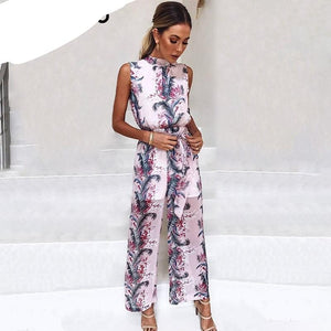 BerryGo Boho floral print sleeveless long jumpsuit women High waist backless loose casual overalls 2018 spring playsuit female-cigauy