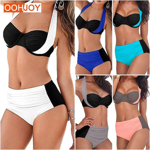 2017 New Sexy Bikini Women Swimsuit High Waist Swimwear Plus Size Bathing Suit Halter Push Up Brazilian Beachwear Tankini 3XL-cigauy