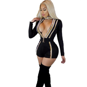 HAOYUAN Sexy Playsuit 2018 Spring Bodycon Hollow Out Slim Shorts Overalls Bodysuits Body Long Sleeve Rompers Womens Jumpsuit-cigauy