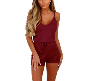 2017 Summer Women Casual Jumpsuits Short Sleeve Bodysuit Female Elastic Waist o neck Rompers Short Overalls for Women Playsuit-cigauy
