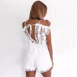 Sexy v neck lace summer jumpsuit White Off Shoulder romper Women hollow out short playsuit Elegant flare sleeve overalls EY11-cigauy