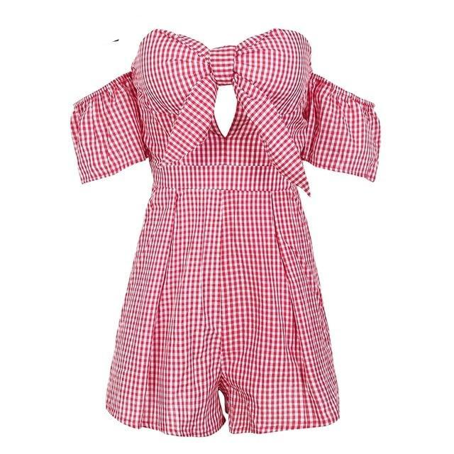 Simplee Off shoulder bow jumpsuit female Sexy plaid backless high waist women romper 2018 new Summer beach short overalls-cigauy