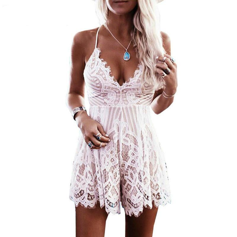 Wuhaobo 2018 Summer Lace Camisole V Neck Playsuit Sexy Shorts Rompers Women Bodysuit Beach White Overall Mini Jumpsuits-cigauy