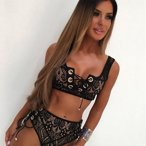 Black White Lace High Waist Swimsuit Bikini Set 2018 Sexy Solid Bikinis Women Push Up Bra Bandage Triangle Swimwear Bathing Suit-cigauy
