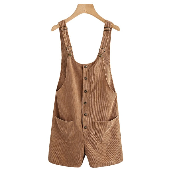 Dotfashion Button Up Patch Pocket Detail Cord Overalls For Woman Strap Mid Waist Pants 2018 Sleeveless Summer Plain Playsuits-cigauy