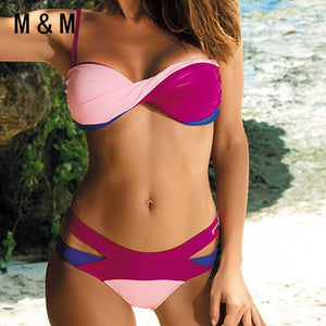 Sexy Push Up Swimsuit Women Bikini 2018 Bandage Swimwear Female Patchwork Beach Biquini Mid Waist Maillot De Bain Swim Bath Suit-cigauy