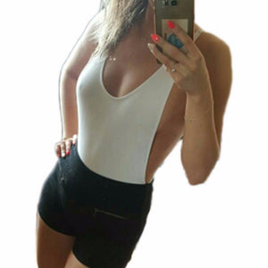 2018 new body suit for women White Red black Nude Sexy high cut leg1 one piece bodysuit Backless sleeveless jumpsuit beach V111-cigauy