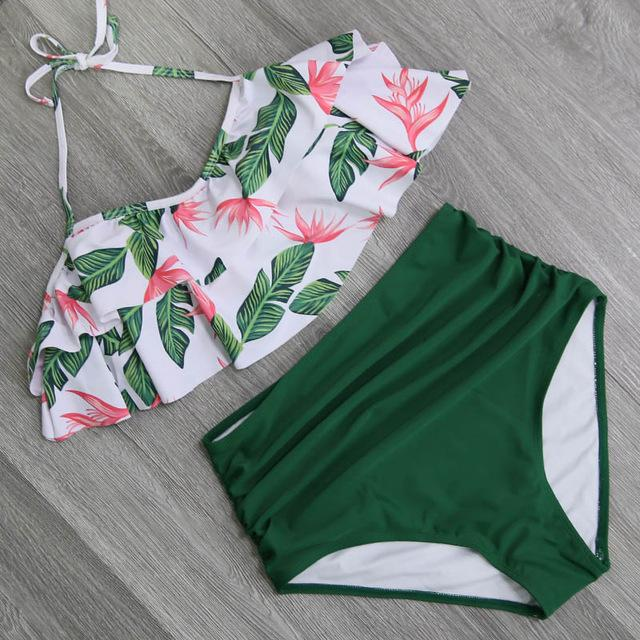 2017 Bikini Set Double Ruffle Swimwear Women Sexy Swimsuit Off Shoulder High Waist Swim Wear Beach Bathing Suits-cigauy