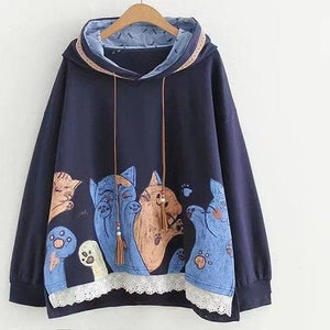 Japanese Women Lace Splicing Tassel Cute Cat Hooded Hoodie Women Harajuku Pullover Sweatshirts Lady Casual Hoody Femme Pull Tops-cigauy