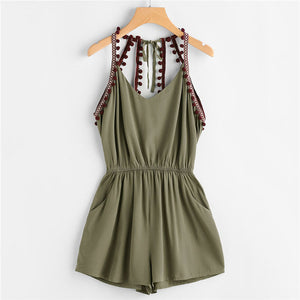 ROMWE Embroidered Taped Pompom Trim Open Back Romper 2018 New Summer Mid Waist Knot Pocket Female Top Sleeveless Straps Romper-cigauy