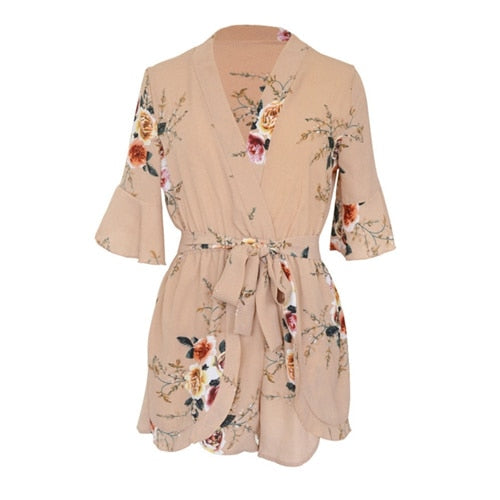 Casual Print Flower Playsuit Women Jumpsuits For Women 2018 New V Neck Ruffles Short Sleeve Loose Shorts Rompers Womens Jumpsuit-cigauy