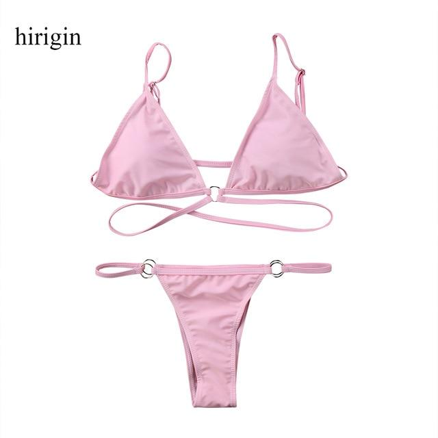 2018 New Prue Pink Women Sexy Bikinis Set Push-Up Padded Triangle Bra Thong Bottom Bandage Swimwear Summer Women Beach Bathing-cigauy