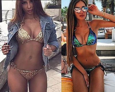 Sexy Women's solid halter Bandage Sequins Triangle Bikini Set Push up Padded Brazilian Swimsuit Swimwear Bathing Suit Beachwear-cigauy