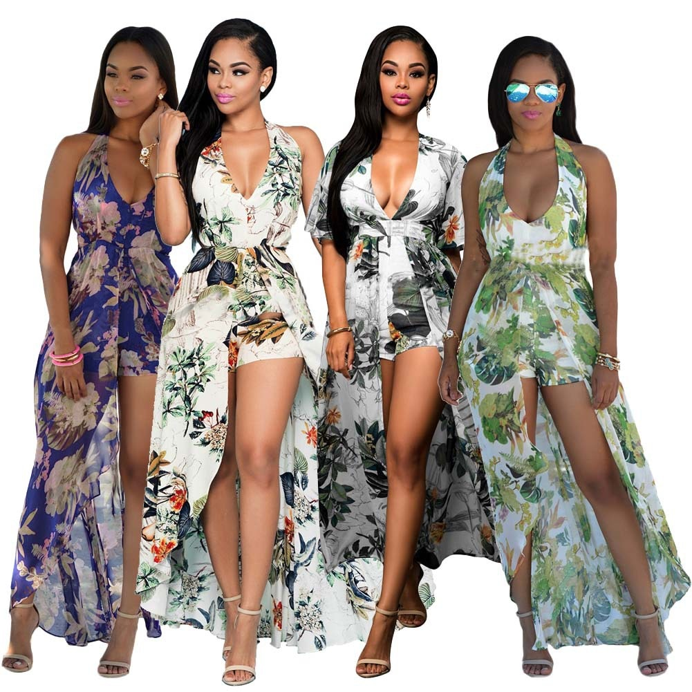 Beach Long Jumpsuit Plus Size Chiffon Summer Women Jumpsuit printing Sexy Casual Vintage Irregular Maxi jumpsuit S-3XL-cigauy