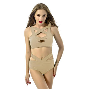 Bandage Design Bikini Set Halter Sexy Halter Women Swimsuit Bathing Swim Suit Plus Size Swimwear S M L XL XXL 1 set-cigauy