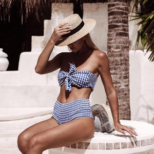 High Waist Bikini Women Bandeau Bikini Set Plaid Vintage Swimwear Biquini Wrinkle Swimsuit Bow Bath Suit Maillot De Bain-cigauy