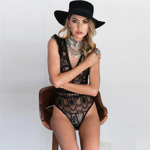 2017 Sexy lace bodysuit Women Skinny hollow out black white jumpsuit body feminino overalls playsuit-cigauy