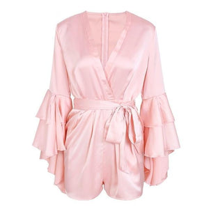 BeAvant Sexy v neck flare long sleeve playsuit High waist tie up pleated satin short romper 2018 Summer women jumpsuit-cigauy