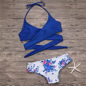 Bikini 2018 Brazilian Women Bikinis Set Floral Cross Swimwear Women Swimsuit Female Sexy Bathing Suit Beachwear Swimming Suits-cigauy