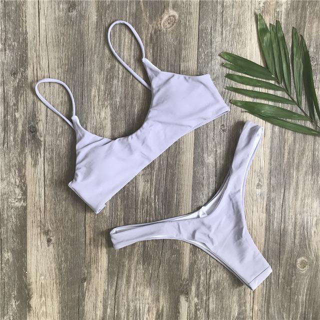 Ariel Sarah Brand 2018 Push Up Bikini Swimwear Women Swimsuit Solid White Bikins Set Biquini Bathing Suit Women Bikinis Women-cigauy