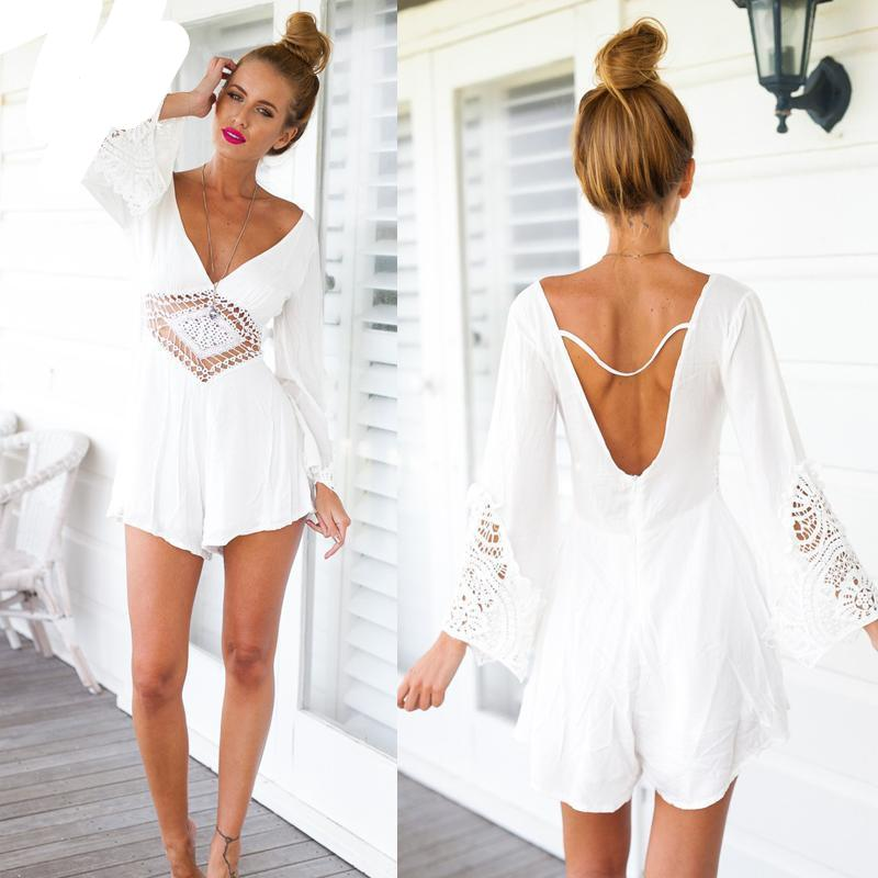 Feitong Halter white lace jumpsuit romper Women sexy deep v neck long sleeve overalls Summer 2018 beach playsuit-cigauy