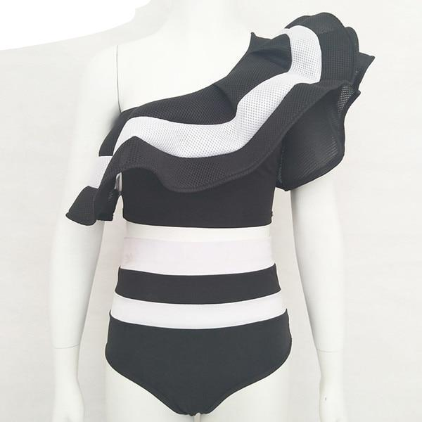 2018 New Summer Black White Ruffles Swimsuit Women Striped Two Piece Bikini Set One Off Shoulder Swimwear Sexy Beach Biqiuni-cigauy