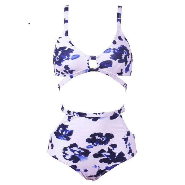 NAKIAEOI 2018 Sexy Print High Waist Swimsuit Women Bikini Push Up Swimwear Vintage Retro Bandage Bikini Set Beach Bathing Suits-cigauy