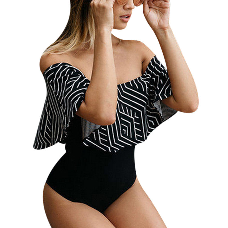 Sexy Ruffle Body Suits For Women Off Shoulder Bodycon Bodysuit Fitness Jumpsuit 2018 Summer Striped Cotton Romper Femme Overalls-cigauy