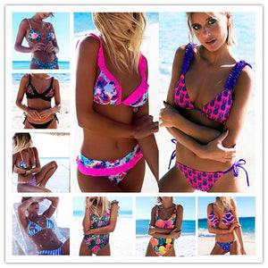 2018 Sexy Bikinis Women Swimsuit Bandage Halter Beach Wear Push Up Bathing suits Print Swimwear Female Brazilian Bikini Set S-XL-cigauy