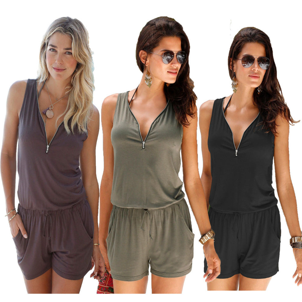 Sexy Sleeveless jumpsuit romper 2018 summer women zipper jumpsuit pocket shorts beach jumpsuit coveralls sexy female frock S-2XL-cigauy