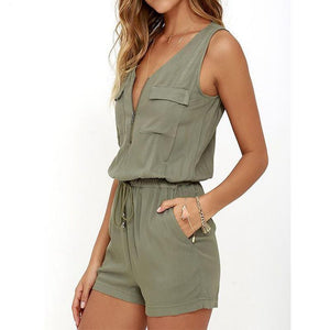 2018 Summer Beach Rompers Womens Jumpsuit Front Zipper Sleeveless Sexy Bodysuit Slim Fit Playsuits Solid Overalls Plus Size S-XL-cigauy
