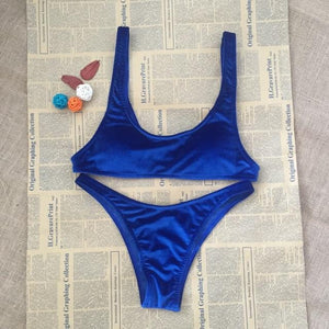 Velvet Swimwear Women Push-Up Padded Bra Crop Top Wire Free Ladies Bikini set Royal Blue Swimsuit Beachwear-cigauy