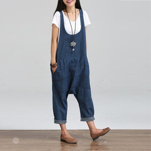 2018 Summer Autumn Dungaree Rompers Womens Jumpsuits Vintage Sleeveless Backless Casual Loose Solid Overalls Strapless Playsuits-cigauy
