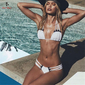 Ariel Sarah Bikini Bandage Swimwear Swimsuit Bathing Suit Women Sexy Bikini Set Solid Biquini Push Up White Beach Wear Monokini-cigauy