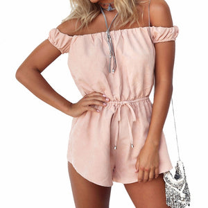 2018 Summer Style Rompers Women Jumpsuit Pink Sexy Off The Shoulder Playsuits Ladies Casual Solid Overalls Body Suit-cigauy