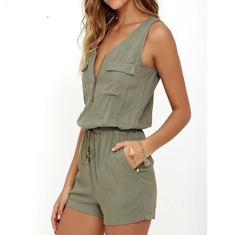 Bodysuit 2018 Summer ZANZEA Rompers Womens Jumpsuit Sexy V Neck Sleeveless Zipper Playsuits Casual Solid Oversized Beach Overall-cigauy
