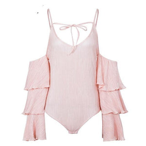 Simplee Sexy ruffle strap bodysuits Cold shoulder v neck elegant bodysuit women Autumn long sleeve streetwear overalls jumpsuit-cigauy