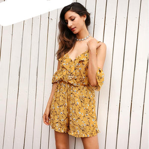 Simplee Ruffles print jumpsuit romper women Sexy v neck beach party overalls Boho summer streetwear cold shoulder playsuits-cigauy