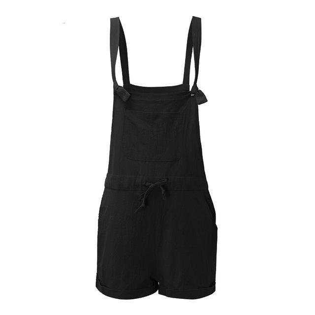 ZANZEA 2018 New Summer Rompers Womens Jumpsuits Casual Pockets Loose Short Playsuits Solid Strap Overalls Plus Size S-5XL-cigauy