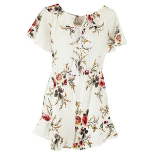 Sexy Women Summer Floral Jumpsuit Strapless Holiday Mini Playsuit Ladies Jumpsuit Summer Fashion Clothes Jumpsuit For Ladies-cigauy