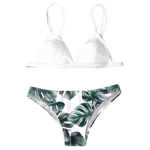 bikini 2018 Women Swimwear Bikini Set Print Leaves Push-Up Padded Bathing Swimsuit Beachwear Hot Sale maillot de bain femme-cigauy