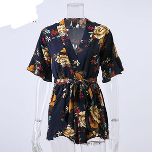 Boho Red Floral Print Ruffles Playsuits Women Elegant Autumn White V Neck Jumpsuits Rompers Sexy Beach Girls Short Overalls-cigauy