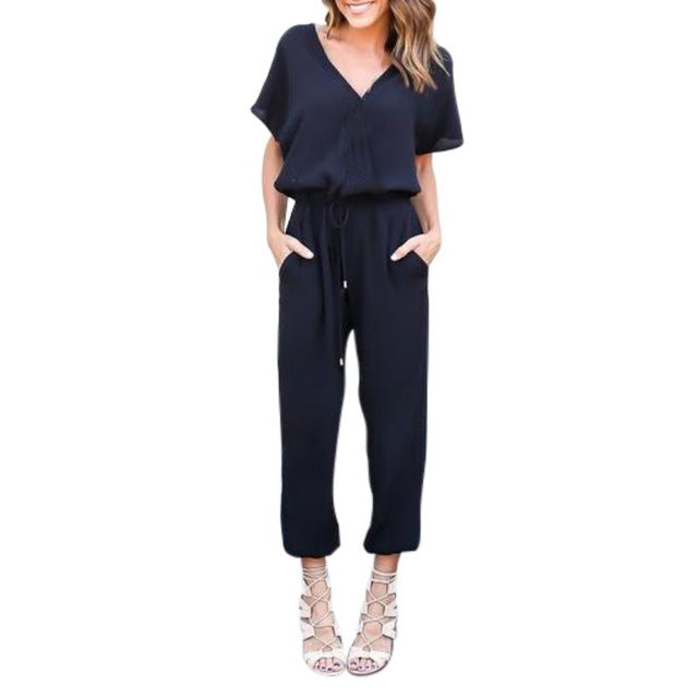 2018 Women Summer Short Sleeve Chiffon Romper Jumpsuit Loose Casual Bodysuit Hot X3-cigauy