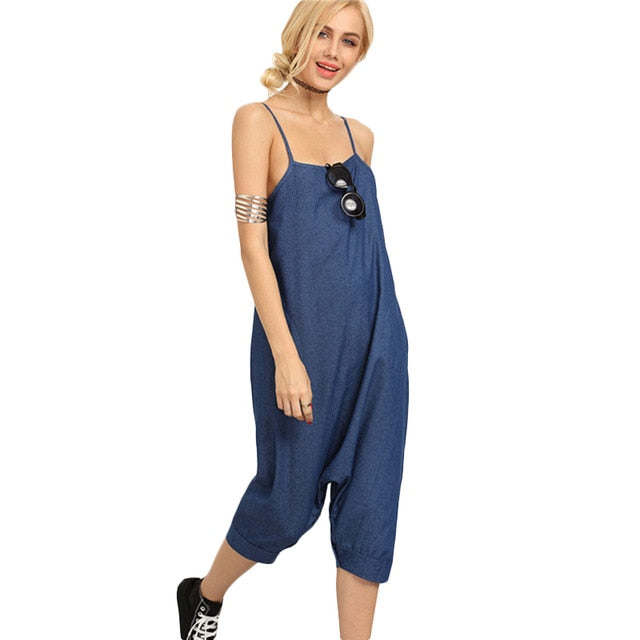 Dotfashion Ladies Sexy Blue Denim Overall Pants With Pockets Buttoned Drop Crotch Casual Women Spaghetti Stripe Jumpsuits-cigauy