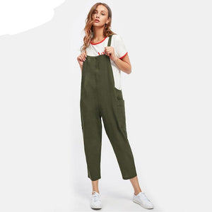 Dotfashion Pocket Side Cross Back Overall Jumpsuit Women Green Strap Pants 2017 Sleeveless Summer Plain Jumpsuit-cigauy