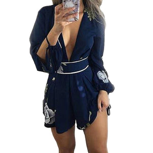 Women Summer Playsuits 2018 Fashion Sexy Lady Deep V-neck Backless Jumpsuit Shorts Rompers Floral Printed Spring Playsuits GV458-cigauy