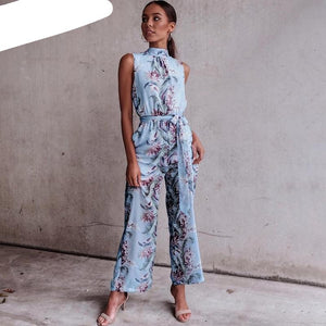 BeAvant Boho floral print long jumpsuit romper Women loose high waist jumpsuit summer Casual backless playsuit overalls 2018 new-cigauy