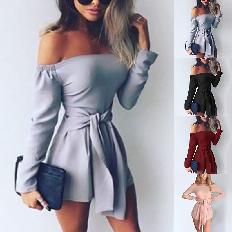 Sexy Women Off Shoulder Jumpsuit Solid Color Long Sleeve Bandage Casual Slim Short Playsuit Rompers Overalls for women clothing-cigauy