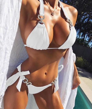 Sexy women Crystal bikini Rhinestone swimwear female brazilian biquini micro bikinis swimsuit tiny bathing suit for beach wear-cigauy